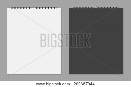 Realistic Sheets Of Paper With Spiral On A Isolated Grey Background