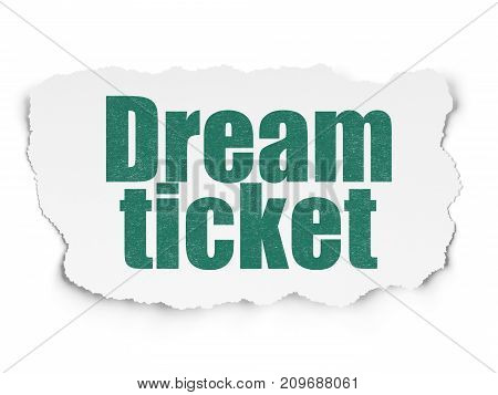 Finance concept: Painted green text Dream Ticket on Torn Paper background with  Binary Code