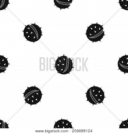 Chestnut pattern repeat seamless in black color for any design. Vector geometric illustration