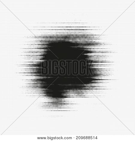 Glitched vector halftone stain. Black blot made of round particles. Modern abstract generative illustration with random distorted spot. Scattered array of dots. Gradation of tone. Element of design.