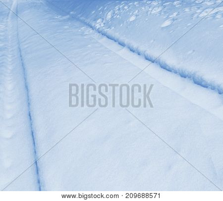 Background. Winter landscape. The texture of the snow. Road.