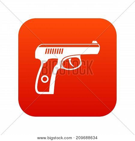Gun icon digital red for any design isolated on white vector illustration