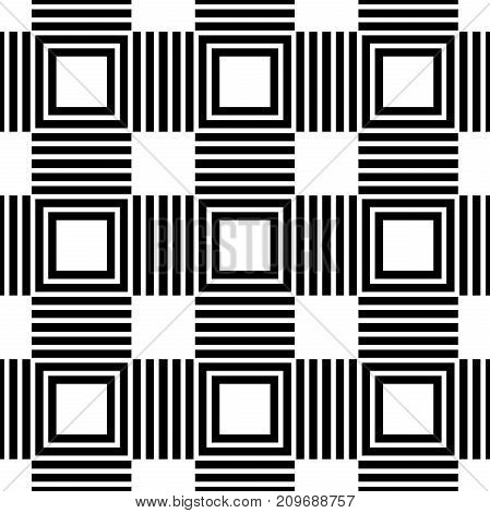 Geometric abstract vector black and white pattern. Geometric modern ornament. Seamless modern background