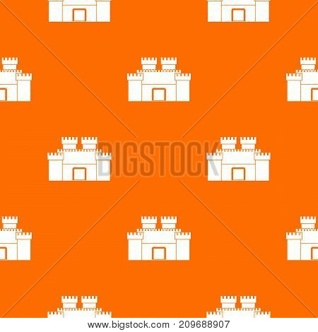 Ancient fortress pattern repeat seamless in orange color for any design. Vector geometric illustration
