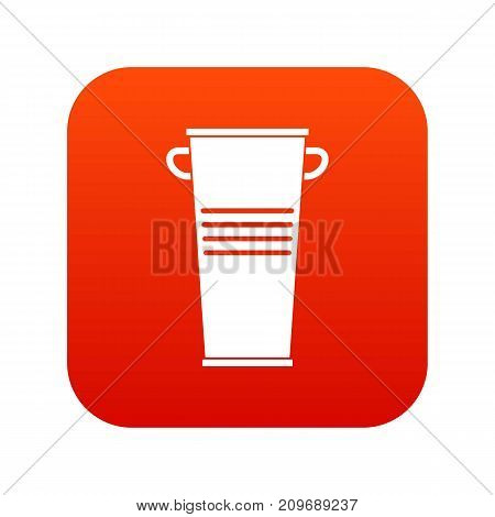 Trash can with handles icon digital red for any design isolated on white vector illustration