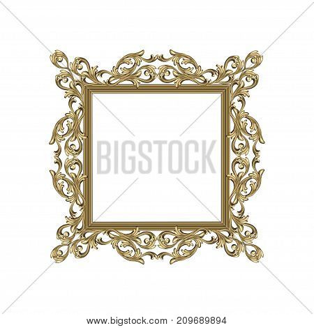 Art frame of square shape with a flower ornament colors an antique the vector image