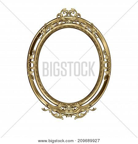 Art frame of an oval form with a flower ornament colors an antique the vector image