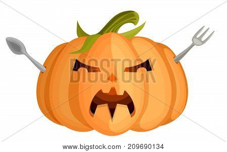 evil halloween angry pumpkin with cutlery on white background