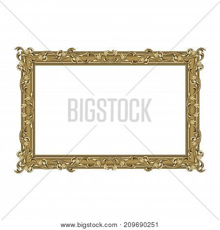 Squared art frame with a flower ornament colors an antique the vector image