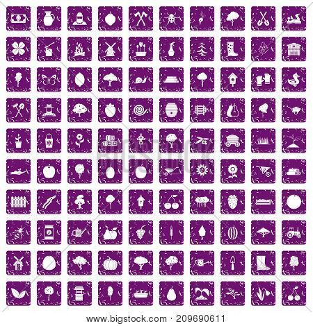 100 agriculture icons set in grunge style purple color isolated on white background vector illustration