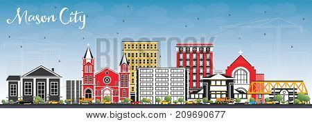 Mason City Iowa Skyline with Color Buildings and Blue Sky. Business Travel and Tourism Illustration with Historic Architecture.