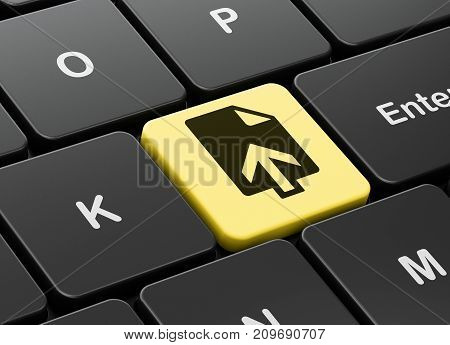 Web design concept: computer keyboard with Upload icon on enter button background, 3D rendering