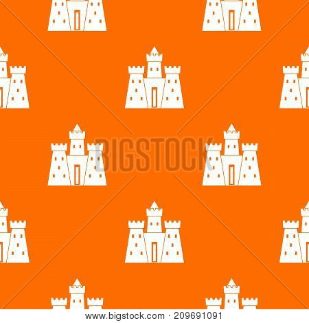 Ancient castle palace pattern repeat seamless in orange color for any design. Vector geometric illustration