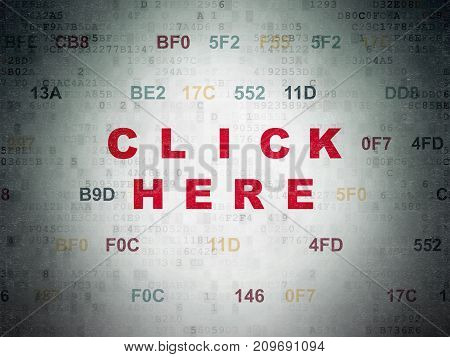 Web development concept: Painted red text Click Here on Digital Data Paper background with Hexadecimal Code