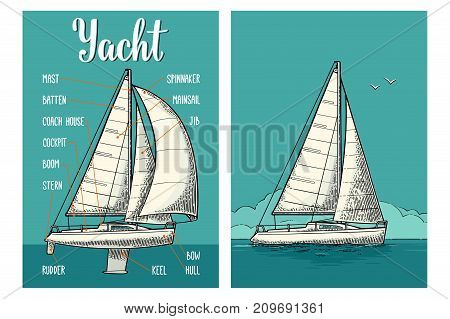 Two vertical posters for yacht club with type sails. Vector vintage engraving illustration for poster. Isolated on the blue sea and sky.
