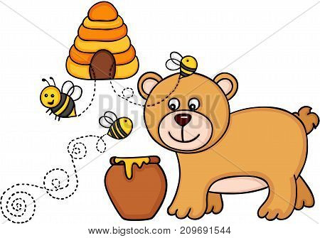 Scalable vectorial image representing a bear with honey pot and bees fly out of a beehive, isolated on white.