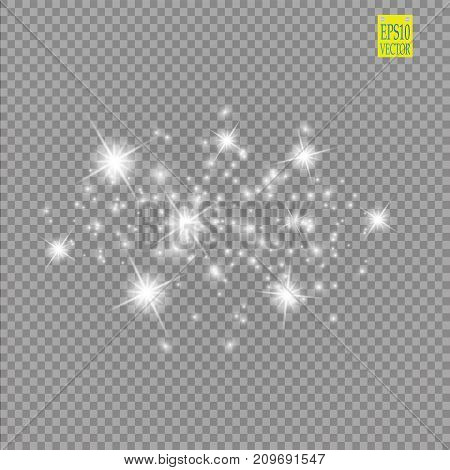 Set of white glowing lights effects isolated on transparent background. Sun flash with rays and spotlight. Glow light effect. Star burst with sparkles. eps 10