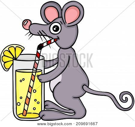 Scalable vectorial image representing a mouse drinking lemonade with a straw, isolated on white.