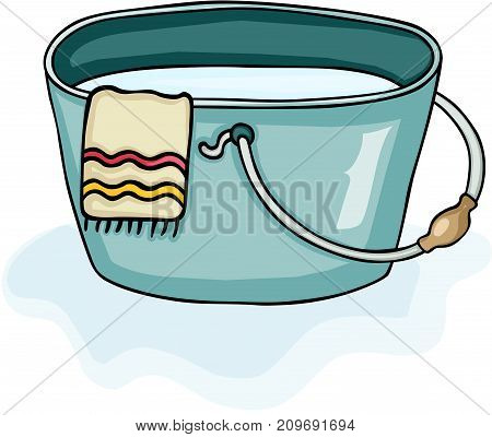 Scalable vectorial image representing a plastic bucket with towel and full of water, isolated on white.
