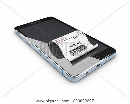 3D Illustration Of Online Shopping Concept. Smartphone With Credit Card