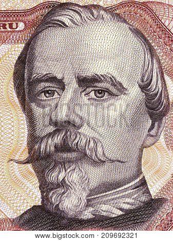 Francisco Bolognesi portrait from Peruvian money - Soles
