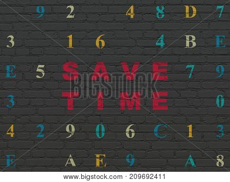 Time concept: Painted red text Save Time on Black Brick wall background with Hexadecimal Code
