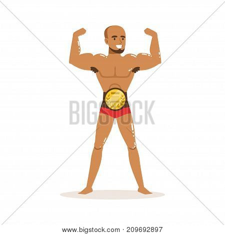 Cartoon character of winner wrestler in flat style. Professional muscularity fighter posing with championship belt. Mixed martial artist. Strong man. Vector illustration isolated on white background.