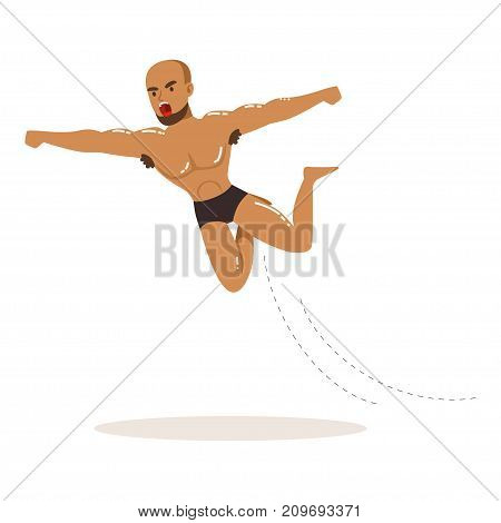Cartoon character of wrestler in high flying action. Professional muscularity fighter. Mixed martial artist. Strong man in fighting pose. Combat sport. Vector illustration isolated on white background