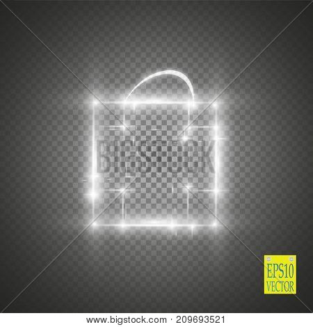 Magic glowing box on a transparent background. Vector