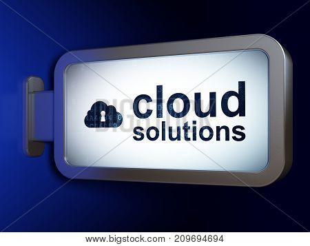 Cloud computing concept: Cloud Solutions and Cloud With Keyhole on advertising billboard background, 3D rendering