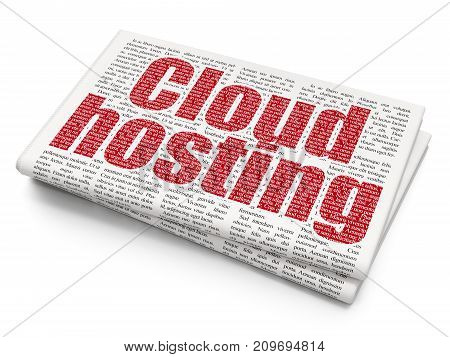 Cloud technology concept: Pixelated red text Cloud Hosting on Newspaper background, 3D rendering