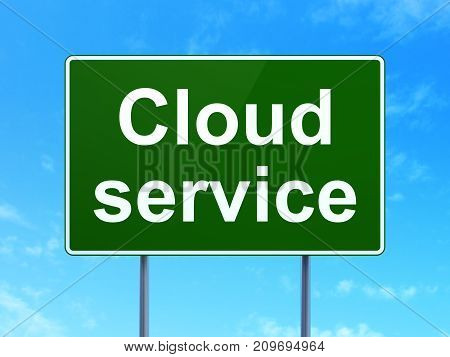 Cloud technology concept: Cloud Service on green road highway sign, clear blue sky background, 3D rendering