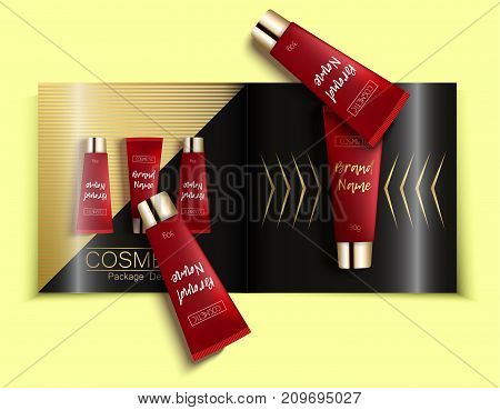 Template of fashion magazine, catalog of cosmetic. Realistic packaging cosmetics templates.cream - bright, trendy, young background, top view. Advertising of fashionable cosmetics. Vector illustration