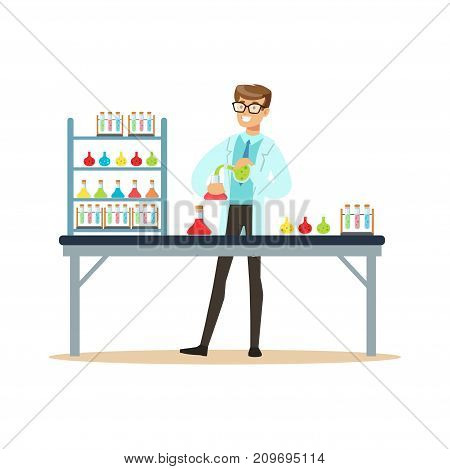 Scientist in modern laboratory conducting experiments with liquids. Man scientist at workplace doing his work. Smart person cartoon character in lab coat. Flat vector illustration isolated on white.