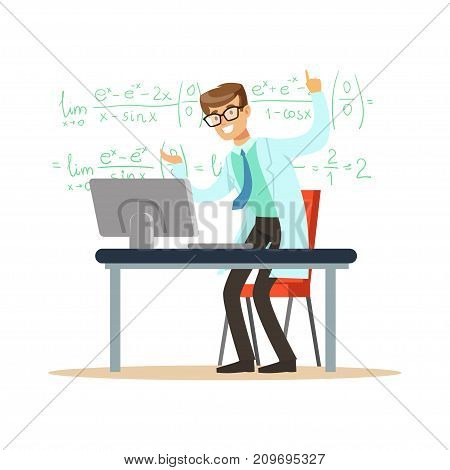 Cheerful theoretical physicist or mathematician solved mathematical problem. Man scientist at workplace doing his work. Smart person cartoon character in lab coat. Flat vector illustration isolated on white.