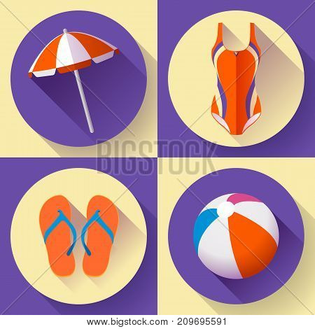 Collection of Summer icons - beach umbrella, swimsuit, Vietnamese slippers, beach ball - what to take to the beach
