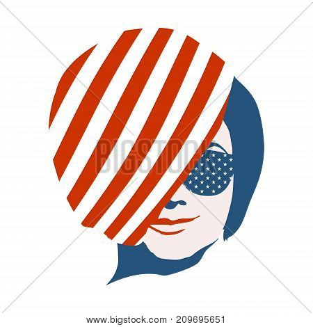 Portrait of beautiful woman in sunglasses. Short hair. Front view. USA national flag