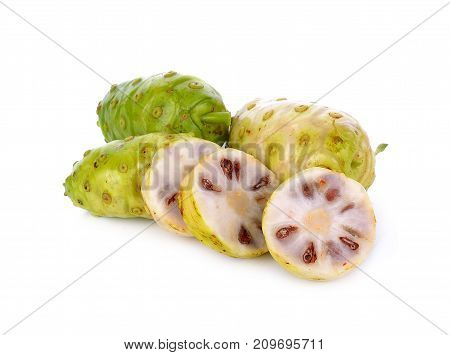 Noni fruit on white background nutritious, half, sliced, evergreen, bounty, tahitian, nature