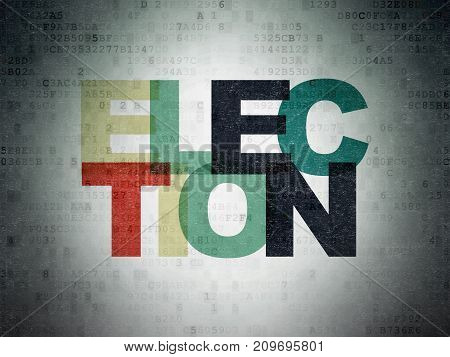 Politics concept: Painted multicolor text Election on Digital Data Paper background