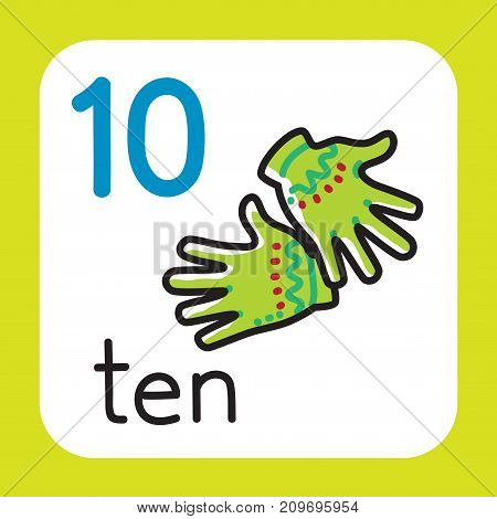 Education card 10. Warm gloves with ten fingers for learning counting from 1 to 10. Childrens vector illustration