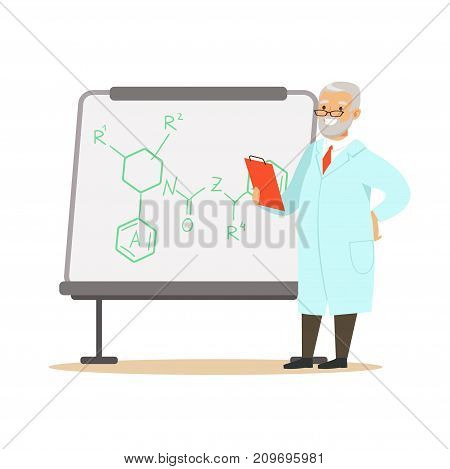 Chemist or biologist stands next to whiteboard with formula. Gray-haired man scientist at workplace doing work. Smart person cartoon character in lab coat. Flat vector illustration isolated on white.