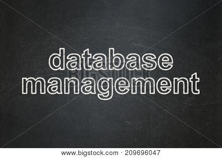 Programming concept: text Database Management on Black chalkboard background