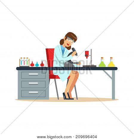 Woman chemist working with microscope and testing tubes in the laboratory. Scientist job. Smart person cartoon character in lab coat and protective glasses. Flat vector illustration isolated on white.