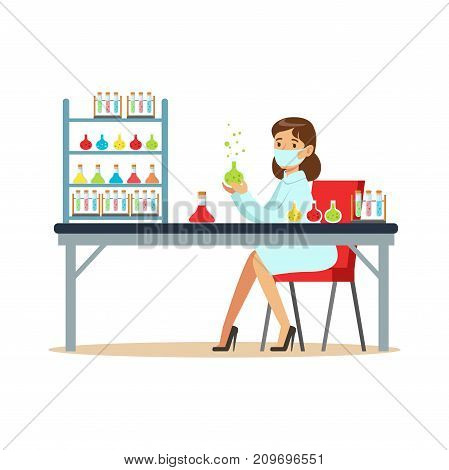 Scientist in modern laboratory conducting experiments with liquids. Woman scientist at workplace. Person cartoon character in lab coat and medical mask. Flat vector illustration isolated on white.