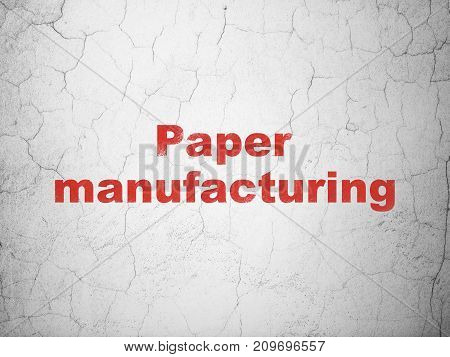 Industry concept: Red Paper Manufacturing on textured concrete wall background