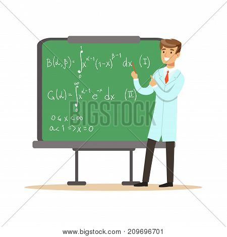 Young physicist stands next to blackboard with mathematical formulas, calculations. Man scientist at workplace. Smart person cartoon character in lab coat. Flat vector illustration isolated on white.