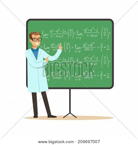 Dr. of mathematical sciences stands next to blackboard with formulas, calculations. Man scientist at workplace. Smart person cartoon character in lab coat. Flat vector illustration isolated on white.