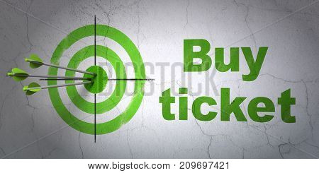 Success tourism concept: arrows hitting the center of target, Green Buy Ticket on wall background, 3D rendering