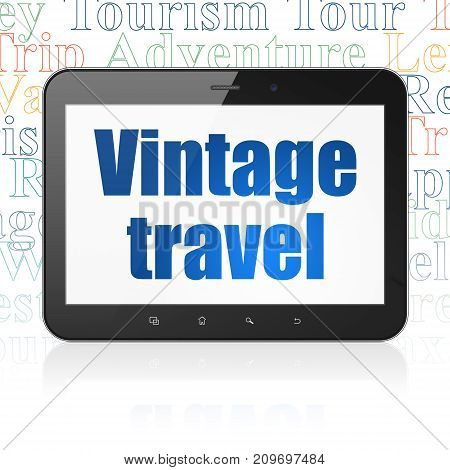 Travel concept: Tablet Computer with  blue text Vintage Travel on display,  Tag Cloud background, 3D rendering