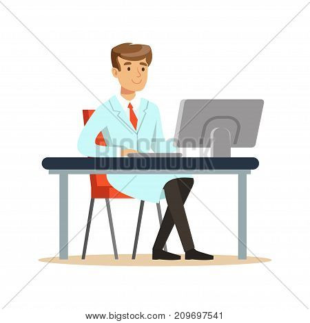 Smiling young professor of computer science sitting behind desk. Software engineer at workplace doing his work. Smart person cartoon character in lab coat. Flat vector illustration isolated on white